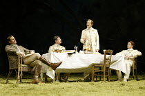 'LOVE'S LABOUR'S LOST' (Shakespeare - director: Trevon Nunn)~l-r: Joseph Fiennes (Berowne), Tam Mutu (Longaville), Simon Day (Ferdinand, King of Navarre), John Barrowman (Dumaine)~Olivier Theatre / Na...