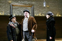 'TWELFTH NIGHT' (Shakespeare -  director: Sam Mendes)~l-r: Anthony O'Donnell (Feste), Paul Jesson (Sir Toby Belch), Helen McCrory (Olivia)~Donmar Warehouse, London WC2           22/10/2002