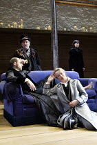 'TWELFTH NIGHT' (Shakespeare -  director: Sam Mendes)~l-r: Mark Strong (Orsino), Anthony O'Donnell (Feste), Emily Watson (Viola), Helen McCrory (Olivia)~Donmar Warehouse, London WC2           22/10/20...