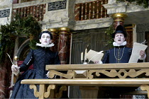 TWELFTH NIGHT  by Shakespeare  Master of Play (director): Tim Carroll ~l-r: Mark Rylance (Olivia), Timothy Walker (Malvolio)~Shakespeare's Globe, London SE1  22/05/2002 ~(c) Donald Cooper/Photostage...