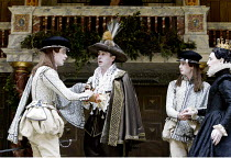 TWELFTH NIGHT  by Shakespeare  Master of Play (director): Tim Carroll ~l-r: Michael Brown (Viola), Liam Brennan (Duke Orsino), Rhys Meredith (Sebastian), Mark Rylance (Olivia)~Shakespeare's Globe, Lon...