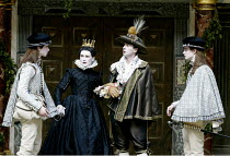 TWELFTH NIGHT  by Shakespeare  Master of Play (director): Tim Carroll ~l-r: Rhys Meredith (Sebastian), Mark Rylance (Olivia), Liam Brennan (Duke Orsino), Michael Brown (Viola)~Shakespeare's Globe, Lon...