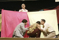 'TWELFTH NIGHT' (Shakespeare - director: Stephen Beresford)~Malvolio (rear, Paul Bhattacharjee) overheard   front, l-r: Shiv Grewal (Sir Toby Belch), Neil D'Souza (Fabian), Paul Bazely (Sir Andrew Agu...