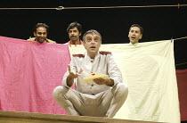 'TWELFTH NIGHT' (Shakespeare - director: Stephen Beresford)~Malvolio overheard   front: Paul Bhattacharjee (Malvolio)  rear, l-r: Neil D'Souza (Fabian), Shiv Grewal (Sir Toby Belch), Paul Bazely (Sir...
