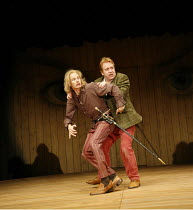 TWELFTH NIGHT   by Shakespeare - director: Michael Boyd ~l-r: John Mackay (Sir Andrew Aguecheek), Clive Wood (Sir Toby Belch)~Royal Shakespeare Company (RSC), Novello Theatre, London WC2  13/12/2005...