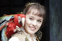 'TWELFTH NIGHT' (Shakespeare - director: Timothy Sheader),Tricia Crowe (Olivia's servant) with Freda the Parrot,Open Air Theatre / Regent's Park, London  NW1         06/06/2005             ,