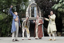 'TWELFTH NIGHT' (Shakespeare - director: Timothy Sheader),III/iv - l-r: Mariah Gale (Viola), Giles Taylor (Fabian), Desmond Barrit (Sir Toby Belch), James Loye (Sir Andrew Aguecheek),Open Air Theatre...