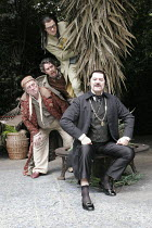 'TWELFTH NIGHT' (Shakespeare - director: Timothy Sheader),II/v - Boxtree scene, from top: James Loye (Sir Andrew Aguecheek), Giles Taylor (Fabian), Desmond Barrit (Sir Toby Belch), (seated, front) Mar...