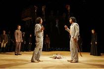 'TWELFTH NIGHT' (Shakespeare - director: Michael Boyd) ~V/i - the twins reunited: Kananu Kirimi (Viola), Gurpreet Singh (Sebastian) watched by (left) Barnaby Kay (Orsino), (right) Aislin McGuckin (Oli...