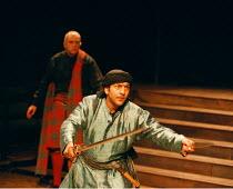 'TWELFTH NIGHT'~Nitin Chandra Ganatra (Sebastian): (rear) Andy Williams (Sir Andrew Aguecheek)~Young Vic  02/06/1998 ~(c) Donald Cooper/Photostage   photos@photostage.co.uk   ref/A5