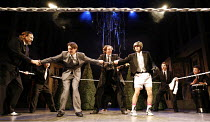 TWELFTH NIGHT   by Shakespeare   director: Edward Hall <br>,from left: Bob Barrett (Malvolio), Tam Williams (Viola), Tony Bell (Feste), Simon Scardifield (Sir Andrew Aguecheek),Propeller / Old Vic The...