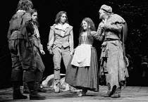LOVE'S LABOUR'S LOST by Shakespeare ~l-r: Richard Griffiths (Ferdinand), Ian Charleson (Longaville), Paul Whitworth (Dumaine), Ruby Wax (Jaquenetta), Michael Hordern (Don Armado) ~Royal Shakespeare Co...