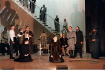 MEASURE FOR MEASURE by Shakespeare design: Tom Piper  lighting: Heather Carson  director: Michael Boyd left:Robert Glenister (Duke Vincentio), Cathryn Bradshaw (Mariane), Adrian Schiller (Lucio)  ce...
