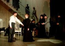 MEASURE FOR MEASURE by Shakespeare design: Tom Piper  lighting: Heather Carson  director: Michael Boyd final scene, front left: Robert Glenister (Duke Vincentio), Clare Holman (Isabella) rear right:...