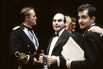 'TIMON OF ATHENS' (Shakespeare - director: Trevor Nunn),front, l-r: Jerome Flynn (Alcibiades), David Suchet (Timon), Roger Hyams (Poet),Young Vic Company / Young Vic Theatre, London SE1...