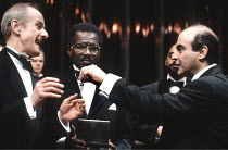 'TIMON OF ATHENS' (Shakespeare - director: Trevor Nunn),front, l-r: Julian Curry (First Senator), Rudolph Walker (Flavius), David Suchet (Timon),Young Vic Company / Young Vic Theatre, London SE1...