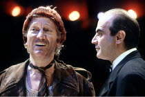 'TIMON OF ATHENS' (Shakespeare - director: Trevor Nunn)~l-r: Barry Foster (Apemantus), David Suchet (Timon)~The Young Vic / London SE1   06/03/1991