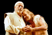 TIMON OF ATHENS  by Shakespeare  design: Stephen Brimson Lewis  lighting: Howard Harrison  director: Gregory Doran ~l-r: John Woodvine (Flavius), Michael Pennington (Timon)~Royal Shakespeare Company (...