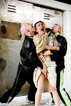 'TITUS ANDRONICUS' (Shakespeare)~l-r: Ralph Higgins (Demetrius), Jane Hartley (Lavinia), Jack Corcoran (Chiron)~Kaos Theatre/Riverside Studios, London W6    07/02/2002