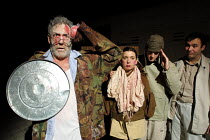 'TITUS ANDRONICUS' (Shakespeare)~left: Lee Beagley (Titus Andronicus), 2nd left: Jane Hartley (Lavinia)~Kaos Theatre/Riverside Studios, London W6    07/02/2002