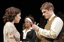 'THE TWO GENTLEMEN OF VERONA' (Shakespeare - director: Fiona Buffini),II/ii - l-r: Vanessa Ackerman (Julia), Brigid Zengeni (Lucetta), Laurence Mitchell (Proteus),RSC Tour 2004/5   Ebbw Vale...