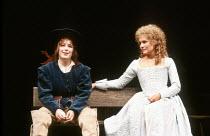 'THE TWO GENTLEMEN OF VERONA' (Shakespeare)~l-r: Julia Swift (Julia), Diana Hardcastle (Silvia)~Royal Shakespeare Company / Royal Shakespeare Theatre   Stratford-upon-Avon                    1981