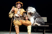 'THE TWO GENTLEMEN OF VERONA' (Shakespeare)~Geoffrey Hutchings (Launce) with Heida as 'Crab'~Royal Shakespeare Company / Royal Shakespeare Theatre   Stratford-upon-Avon                    1981