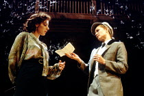 'THE TWO GENTLEMEN OF VERONA' (Shakespeare)~l-r: Saskia Reeves (Silvia), Clare Holman (Julia)~Royal Shakespeare Company / Swan Theatre, Stratford-upon-Avon             04/1991