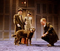 'THE TWO GENTLEMEN OF VERONA' (Shakespeare)~front, l-r: Mark Hadfield (Launce), Cassie as 'Crab', John Dougall (Speed)~Royal Shakespeare Company/Swan Theatre, Stratford-upon-Avon   24/02/1998