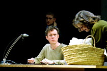 'THE WINTER'S TALE' (Shakespeare)~Paulina (Deborah Findlay) shows Leontes (Alex Jennings ) his baby daughter~Royal National Theatre/Olivier Theatre, London SE1  23/05/2001