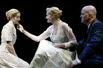 'THE WINTER'S TALE' (Shakespeare)~l-r: Lauren Ward (Perdita), Anastasia Hille (Hermione), Douglas Hodge (Leontes)~RSC/The Roundhouse, London NW1      12/04/2002