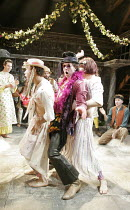 'THE WINTER'S TALE' (Shakespeare - director: Edward Hall),'Sheep-shearing feast'/'Autolycus's rap' - centre: Tony Bell (Autolycus),Propeller / The Watermill / West Berkshire Playhouse, nr. Newbury / E...