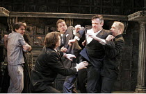'THE WINTER'S TALE' (Shakespeare - director: Edward Hall),jealous King restrained: Richard Clothier (Leontes, King of Sicilia) with (left) Tam Williams (Mamillius),Propeller / The Watermill / West Ber...