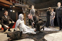 'THE WINTER'S TALE' (Shakespeare - director: Edward Hall),on bear skin, l-r: Simon Scardifield (Hermione), Richard Clothier (Leontes, King of Sicilia)   ,Propeller / The Watermill / West Berkshire Pla...