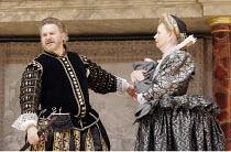 'THE WINTER'S TALE' (Shakespeare - director/'Master of Play': John Dove),II/iii: Paul Jesson (Leontes), Penelope Beaumont (Paulina),Shakespeare's Globe, London SE1          15/06/2005            ,