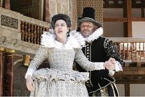 'THE WINTER'S TALE' (Shakespeare - director/'Master of Play': John Dove),V/iii: Yolanda Vazquez (Hermione), Paul Jesson (Leontes),Shakespeare's Globe, London SE1          15/06/2005            ,