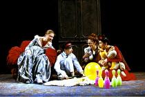THE WINTER'S TALE   by Shakespeare   design: Ariane Gastambide   lighting: Ben Ormerod   director: Annabel Arden ~l-r: Gabrielle Reidy (Hermione), Kathryn Hunter (Mamillius), Vicki Pepperdine (Emilia)...