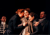 THE WINTER'S TALE by Shakespeare  design: Robert Jones  lighting: Tim Mitchell  director: Gregory Doran ~falsely accused, banished and distraught, Hermione is supported by her ladies-in-waiting: l-r -...