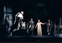 THE WINTER'S TALE by Shakespeare  design: Robert Jones  lighting: Tim Mitchell  director: Gregory Doran ~Hermione protests her innocence at her trial - left: Estelle Kohler (Paulina) (on throne) Anton...
