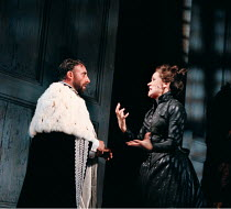 THE WINTER'S TALE by Shakespeare  design: Robert Jones  lighting: Tim Mitchell  director: Gregory Doran ~Paulina protests Hermione's innocence to Leontes: Estelle Kohler, Antony Sher ~Royal Shakespear...
