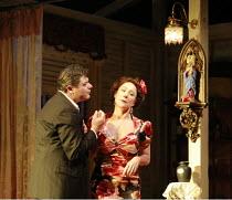 THE ROSE TATTOO   by Tennessee Williams   directors: Steven Pimlott & Nicholas Hytner <br>,Darrell D^Silva (Alvaro Mangiacavallo), Zoe Wanamaker (Serafina delle Rose),Olivier Theatre / National Theatr...