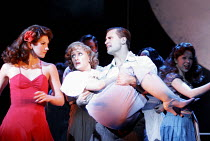 'GUYS AND DOLLS' (music & lyrics: Frank Loesser   book: Jo Swerling & Abe Burrows   director: Michael Grandage),l-r: Summer Strallen (Hot Box Girl), Jenna Russell (Sarah Brown), Matthew Cole (Liverlip...