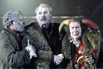 ^KING LEAR? (Shakespeare - director: Bill Alexander) storm scene l-r: Louis Hilyer (Earl of Kent), Corin Redgrave (King Lear), John Normington (Lear^s Fool),Royal Shakespeare Company /  Royal Shakespe...