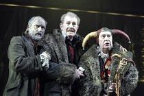 'KING LEAR' (Shakespeare - director: Bill Alexander)~l-r: Louis Hilyer (Earl of Kent), Corin Redgrave (King Lear), John Normington (Lear's Fool)~Royal Shakespeare Company /  Royal Shakespeare Theatre,...