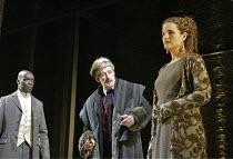 'KING LEAR' (Shakespeare - director: Bill Alexander),l-r: Leo Wringer (Duke of Albany), Corin Redgrave (King Lear), Emily Raymond (Goneril),Royal Shakespeare Company /  Albery Theatre, London WC2...