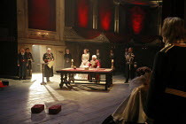 KING LEAR   by Shakespeare   director: Trevor Nunn <br>,I/i - front centre, l-r: William Gaunt (Gloucester), Romola Garai (Cordelia), Ian McKellen (King Lear)  ,Royal Shakespeare Company (RSC),Courtya...