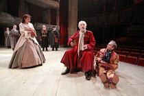 KING LEAR   by Shakespeare   director: Trevor Nunn <br>,front, l-r: Monica Dolan (Regan), Ian McKellen (King Lear), Sylvester McCoy (Lear^s Fool),Royal Shakespeare Company (RSC),Courtyard Theatre, Str...
