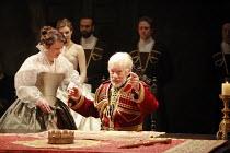 KING LEAR   by Shakespeare   director: Trevor Nunn <br>,I/i - front: Monica Dolan (Regan), Ian McKellen (King Lear),Royal Shakespeare Company (RSC),Courtyard Theatre, Stratford-upon-Avon, England...