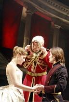 KING LEAR   by Shakespeare   director: Trevor Nunn <br>,I/i - l-r: Romola Garai (Cordelia), Ian McKellen (King Lear), Peter Hinton (Duke of Burgundy),Royal Shakespeare Company (RSC),Courtyard Theatre,...