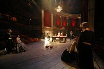 KING LEAR   by Shakespeare   director: Trevor Nunn <br>,I/i - far left:  Guy Williams (Duke of Cornwall). Monica Dolan (Regan)   centre: Romola Garai (Cordelia), Ian McKellen (King Lear)   ,far right:...